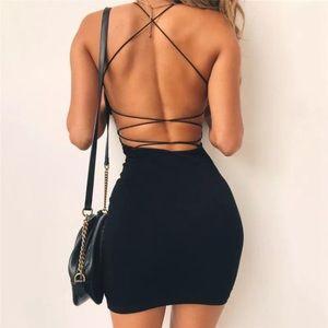 Strappy Backless Mini Dress - Black